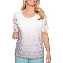 Alfred Dunner Womens Versailles Ombre Lace Top