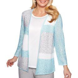 Alfred Dunner Womens Versailles Colorblock Duet Sweater