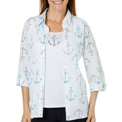 Alfred Dunner Womens Smooth Sailing Floral Anchor Duet Top