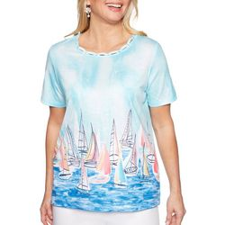 Alfred Dunner Womens Smooth Sailing Scenic Sailboat Top