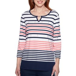 Alfred Dunner Womens Smooth Sailing Striped Anchor Top