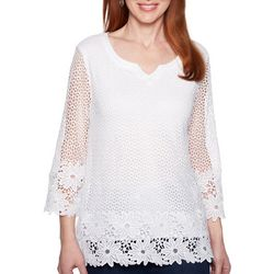 Alfred Dunner Womens Smooth Sailing Crochet Lace Top