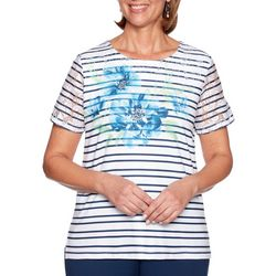 Alfred Dunner Womens Cote D'Azur Floral Striped Top