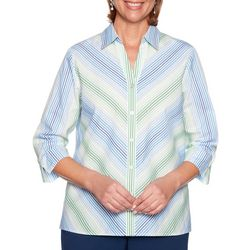 Alfred Dunner Womens Cote D'Azur Mitered Stripe Top
