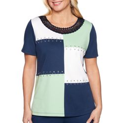 Alfred Dunner Womens Cote D'Azur Embellished Colorblock Top