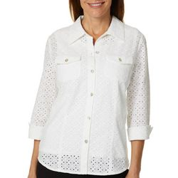 Alfred Dunner Womens Turtle Cove Eyelet Button Down Top