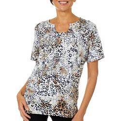 Alfred Dunner Womens Embellished Animal Print Top