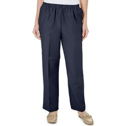 Alfred Dunner Womens Solid Straight Leg Pull On Pants