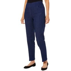 Alfred Dunner Womens Greenwich Hills Denim Pull On Pants