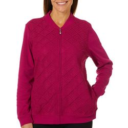 Alfred Dunner Womens Royal Jewels Textured Zip Up Jacket