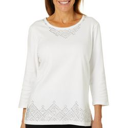 Alfred Dunner Womens Royal Jewels Embellished Border Top