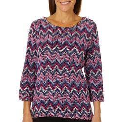 Alfred Dunner Womens Royal Jewels Chenille Chevron Sweater