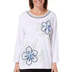 Alfred Dunner Womens Greenwich Hills Embroidered Floral Top