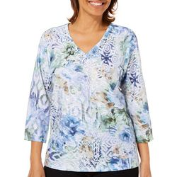 Alfred Dunner Womens Greenwich Hills Jeweled Abstract Top