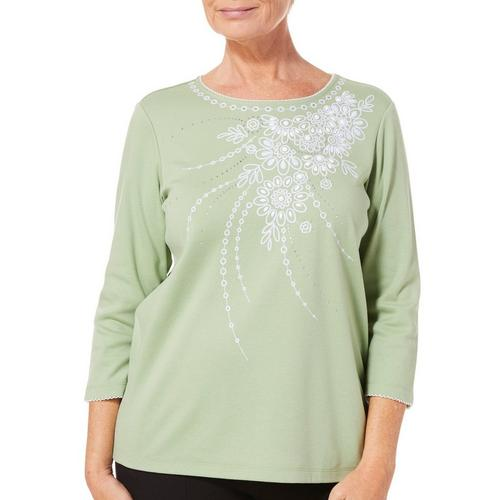 c8d78d1f7aeb2 Alfred Dunner Womens Greenwich Hills Floral Top