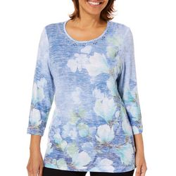 Alfred Dunner Womens Greenwich Hills Watercolor Floral Top