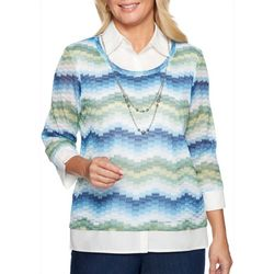 Alfred Dunner Womens Greenwich Hills Necklace & Chevron Top