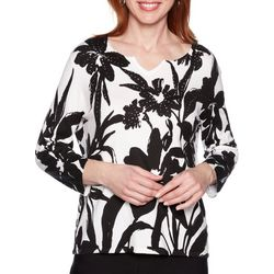 Alfred Dunner Womens Native New Yorker Floral Print Sweater