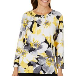 Alfred Dunner Womens Native New Yorker Floral Jewel Sweater