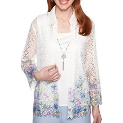 Alfred Dunner Womens Southampton Floral Lace Duet Top