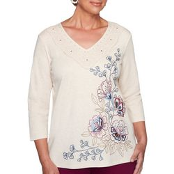 Alfred Dunner Womens Sunset Canyon Floral Embellished Top