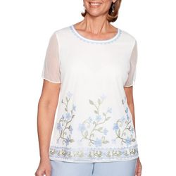Alfred Dunner Womens Southampton Embroidered Floral Top