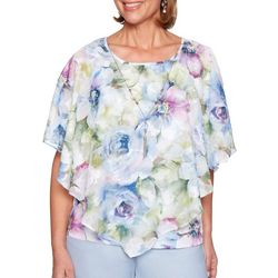 Alfred Dunner Womens Southampton Watercolor Floral Top