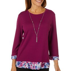 Alfred Dunner Womens Floral Faux Layered Round Neck Top