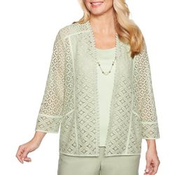 Alfred Dunner Womens Southampton Necklace & Lace Duet Top