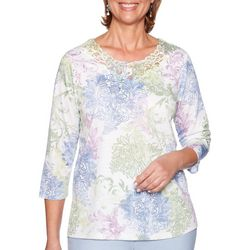 Alfred Dunner Womens Southampton Floral Lace Neck Top