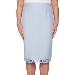 Alfred Dunner Womens Southampton Solid Laser Cut Skirt