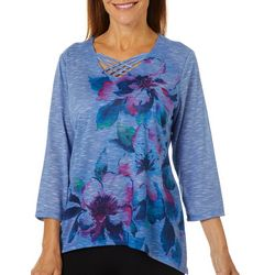 Alfred Dunner Womens Autumn Harvest Floral V-Neck Top