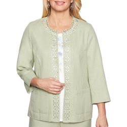 Alfred Dunner Womens Southampton Laser Cut Jacket