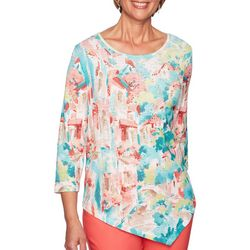 Alfred Dunner Womens Costal Drive Bling Scenic Top