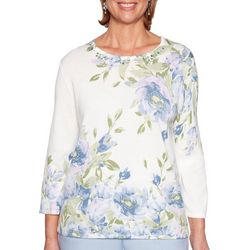 Alfred Dunner Womens Southampton Floral Jewel Neck Sweater