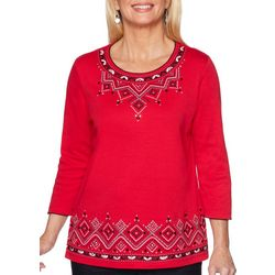 Alfred Dunner Womens Well Red Embroidered Detail Top