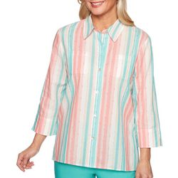 Alfred Dunner Womens Coastal Drive Vertical Stripe Top