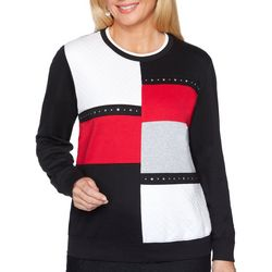 Alfred Dunner Womens Well Red Colorblock Long Sleeve Top