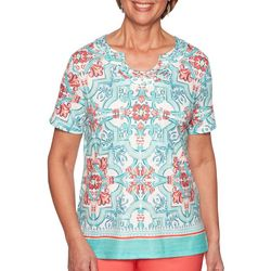 Alfred Dunner Womens Costal Drive Medallion Print Top