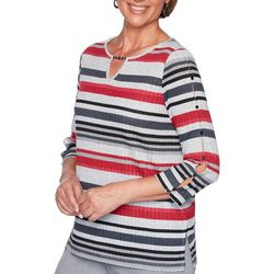 Alfred Dunner Womens Well Red Striped Keyhole Detail Top