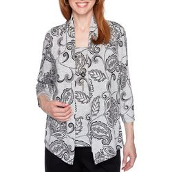 Alfred Dunner Womens Well Red Paisley Print Duet Top