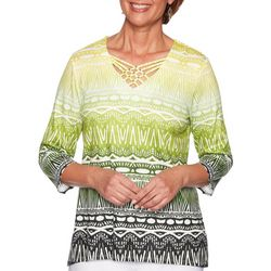 Alfred Dunner Womens Cayman Islands Tapa Biadere Top