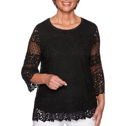 Alfred Dunner Womens Cayman Solid Lace Biadere Top