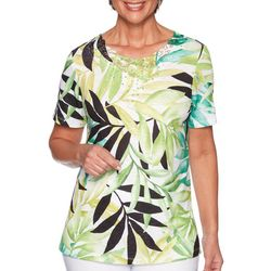 Alfred Dunner Womens Caymen Islands Tropical Palm Print