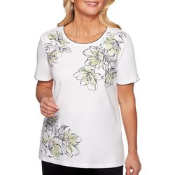 Alfred Dunner Womens Caymen Islands Asymmetrical Floral Top