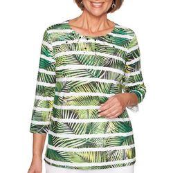 Alfred Dunner Womens Cayman Islands Fern Stripe Biadere Top