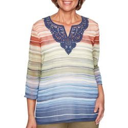 Alfred Dunner Womens Lake Tahoe Biadere Stripe Print Top