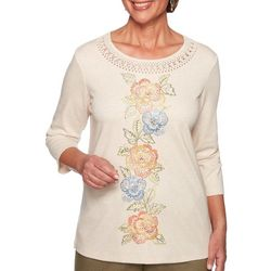 Alfred Dunner Womens Lake Tahoe Floral Embroidered Top