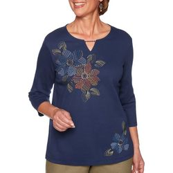 Alfred Dunner Womens Lake Tahoe Floral Keyhole Detail