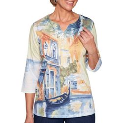 Alfred Dunner Womens Lake Tahoe Scenic Embellished Top